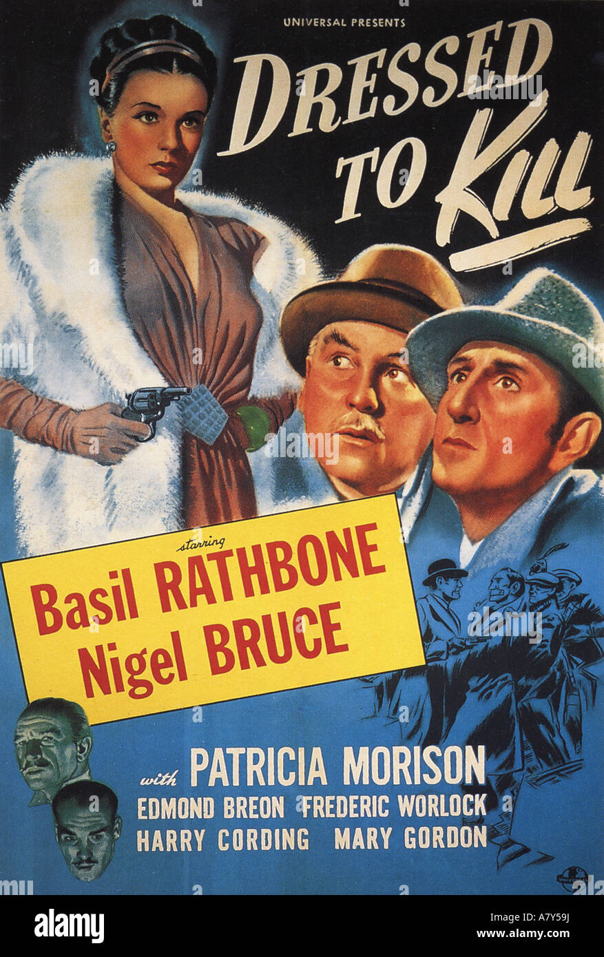DRESSED TO KILL poster for 1946 Universal film with Basil Rathbone and Nigel Bruce - Stock Image