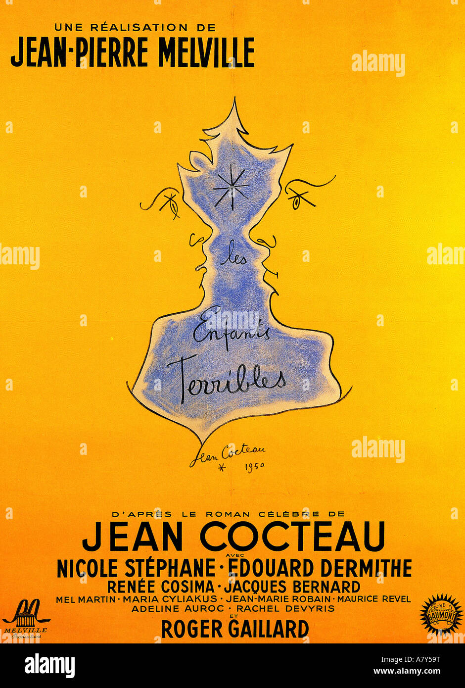 LES ENFANTS TERRIBLE poster for 1950 film based on novel by Jean Cocteau - Stock Image