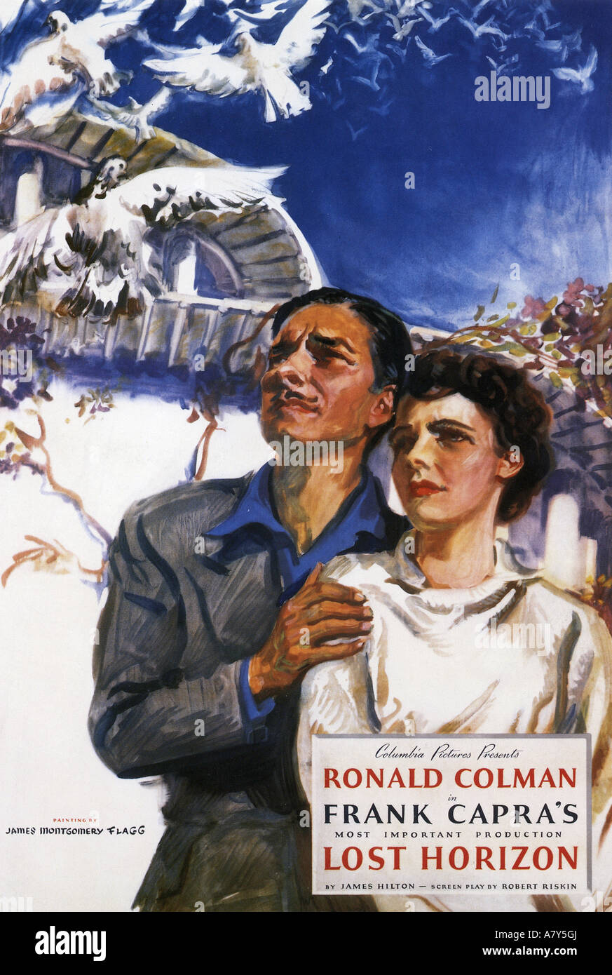 LOST HORIZON poster for 1937 Columbia film with Ronald Coleman - Stock Image