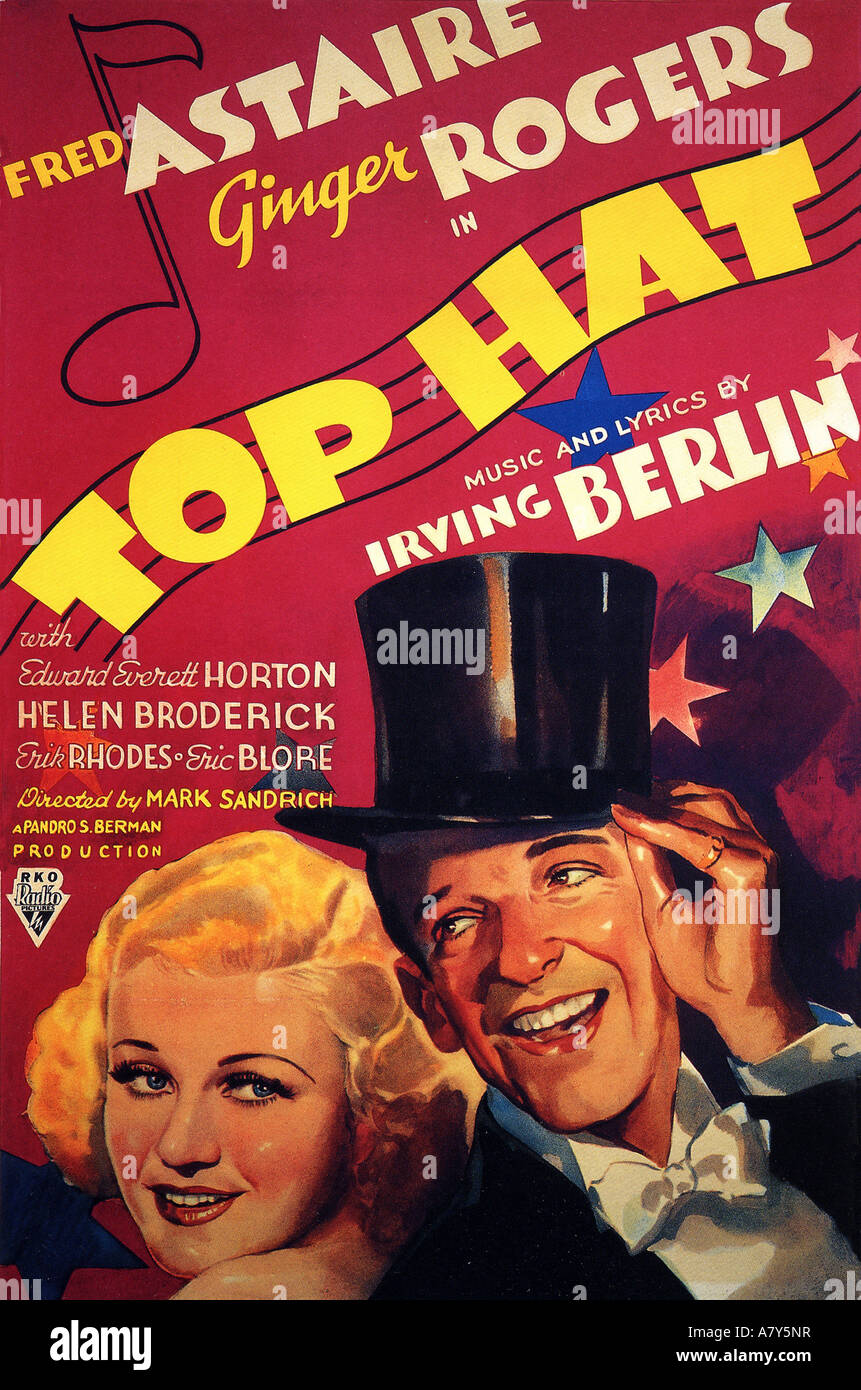 TOP HAT poster for 1935 RKO film with Fred Astaire and Ginger Rogers - Stock Image
