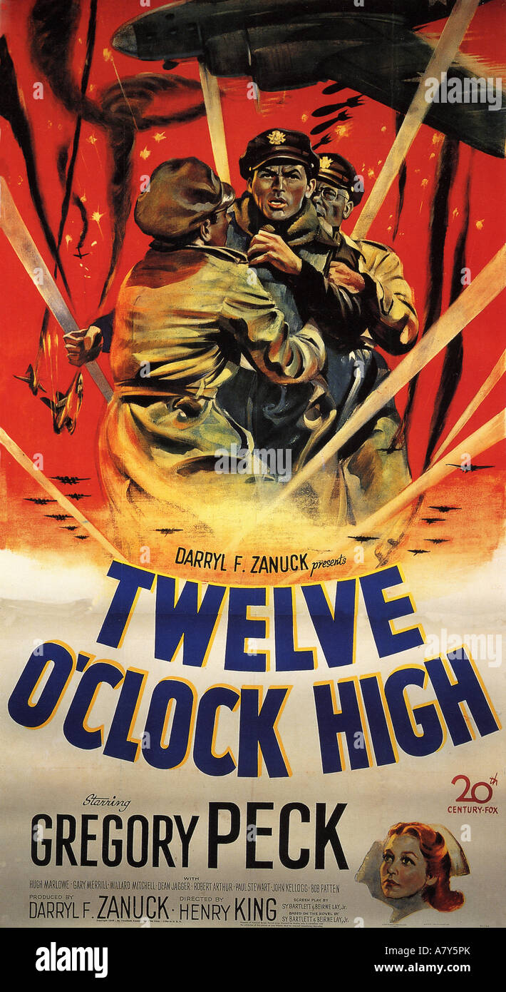 TWELVE O'CLOCK HIGH poster for 1949 TCF film with Gregory Peck - Stock Image