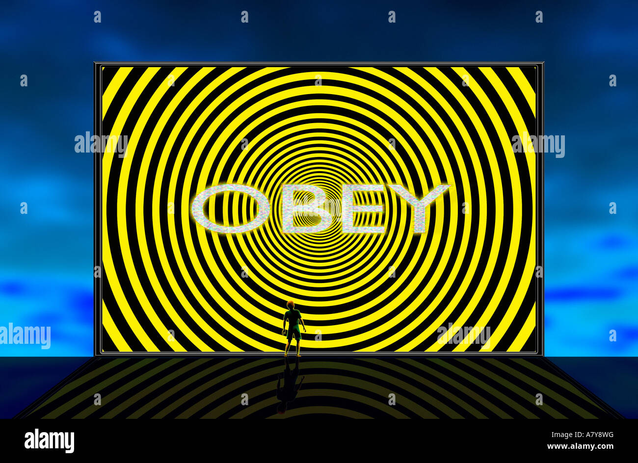 Hypnotic Screen with Big Brother orders to 'obey' - Stock Image
