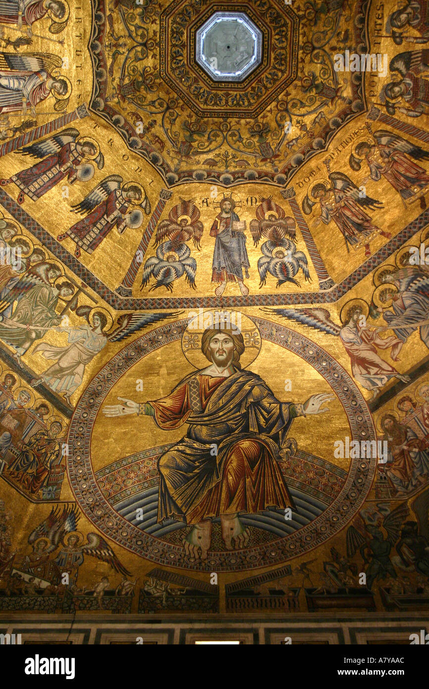 Gilded mosaic ceiling at the Florence Baptistry Stock Photo