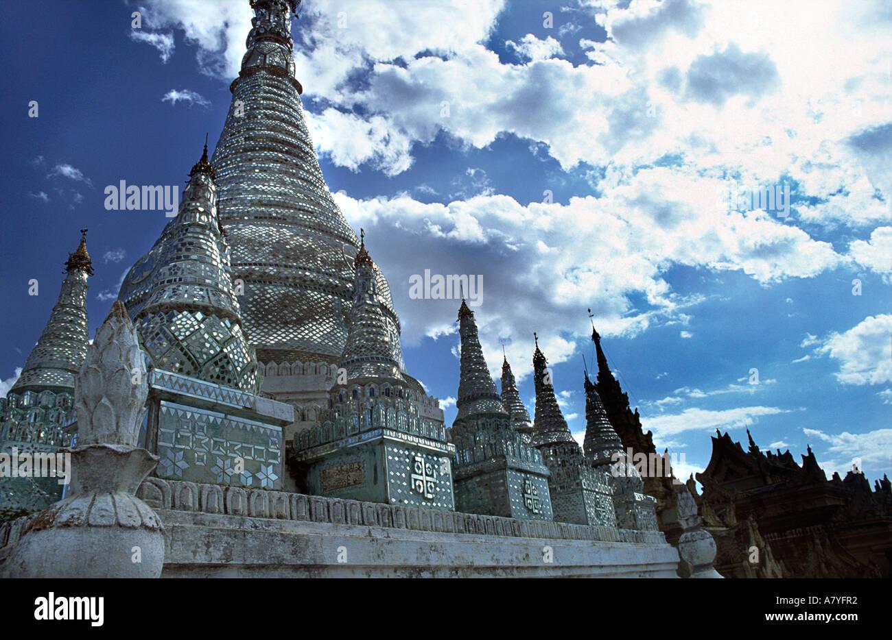 Mirrored stupas at Maha Aungmye Bonzan monastery Ava near Mandalay Burma MYANMAR - Stock Image