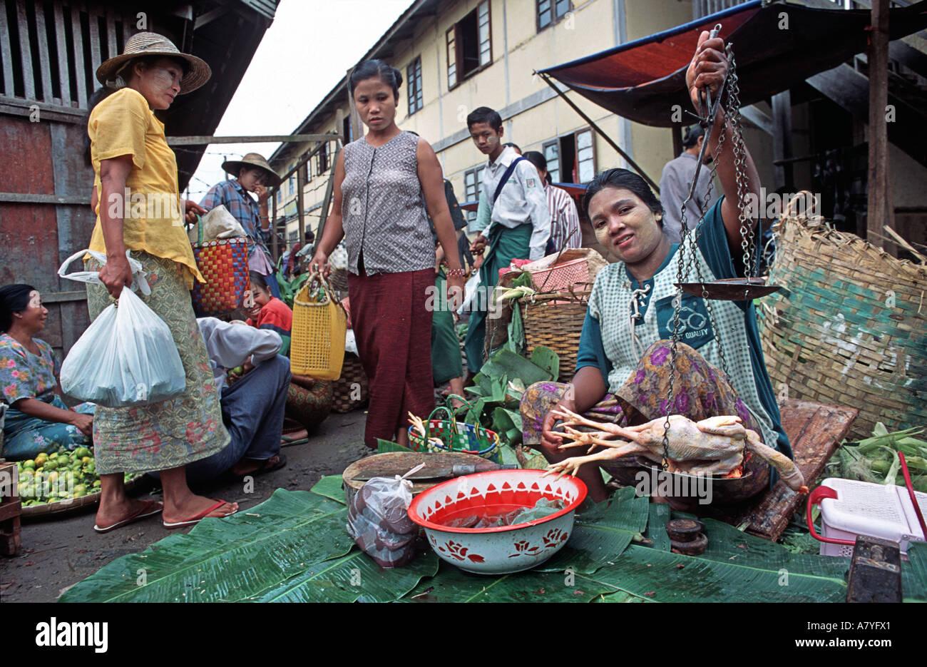 Poultry vendor holding up her wares Pyin U Lwin market near Mandalay Burma MYANMAR - Stock Image