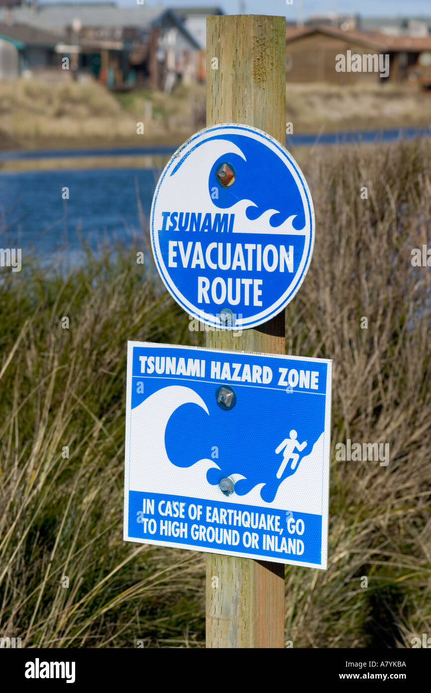 tsunami evacuation route sign in waldport on the oregon