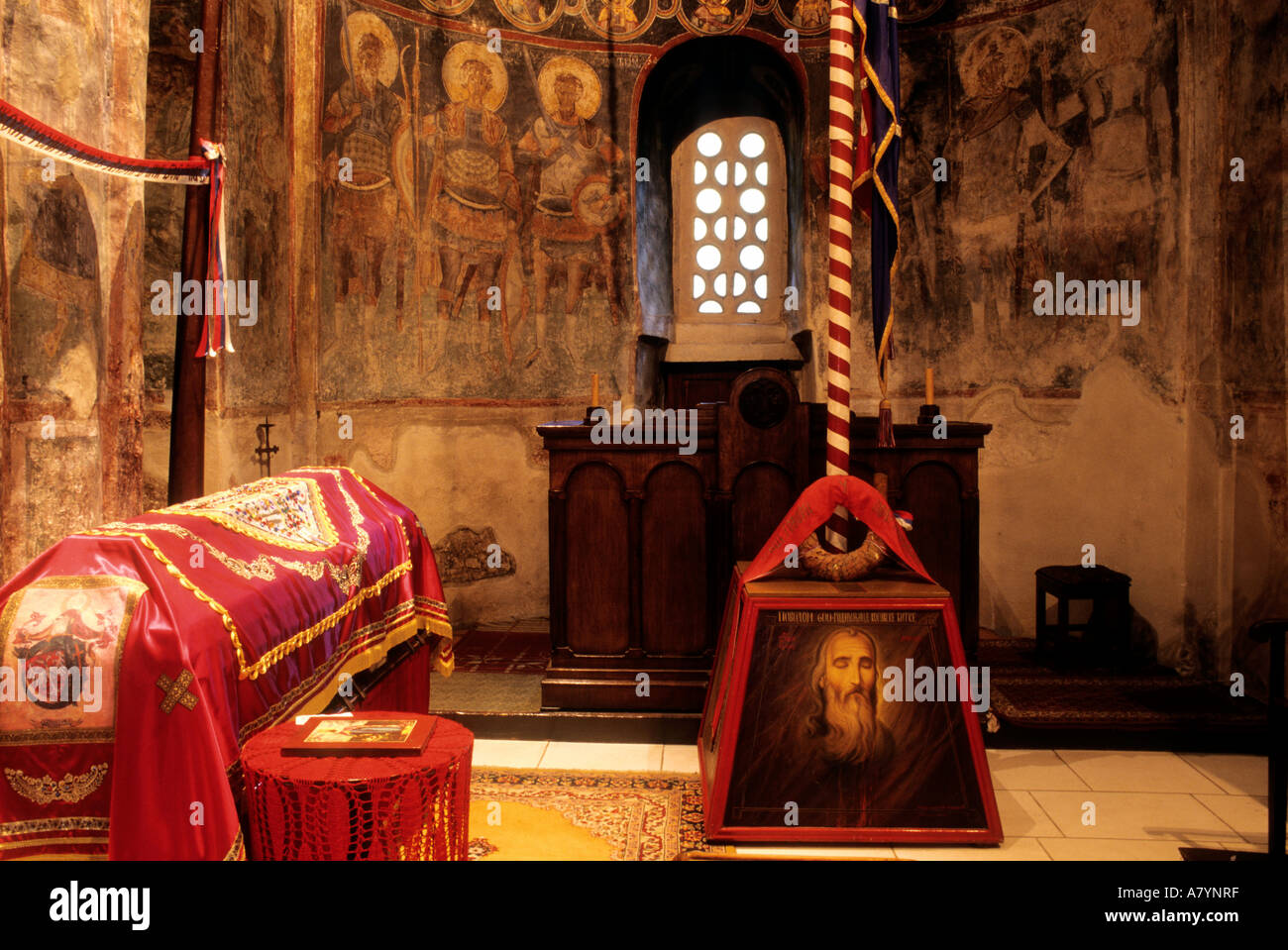 Serbia, tomb of prince Lazard, Serb hero of the wars against the ottomans of the 14th century,  monastery finds Stock Photo