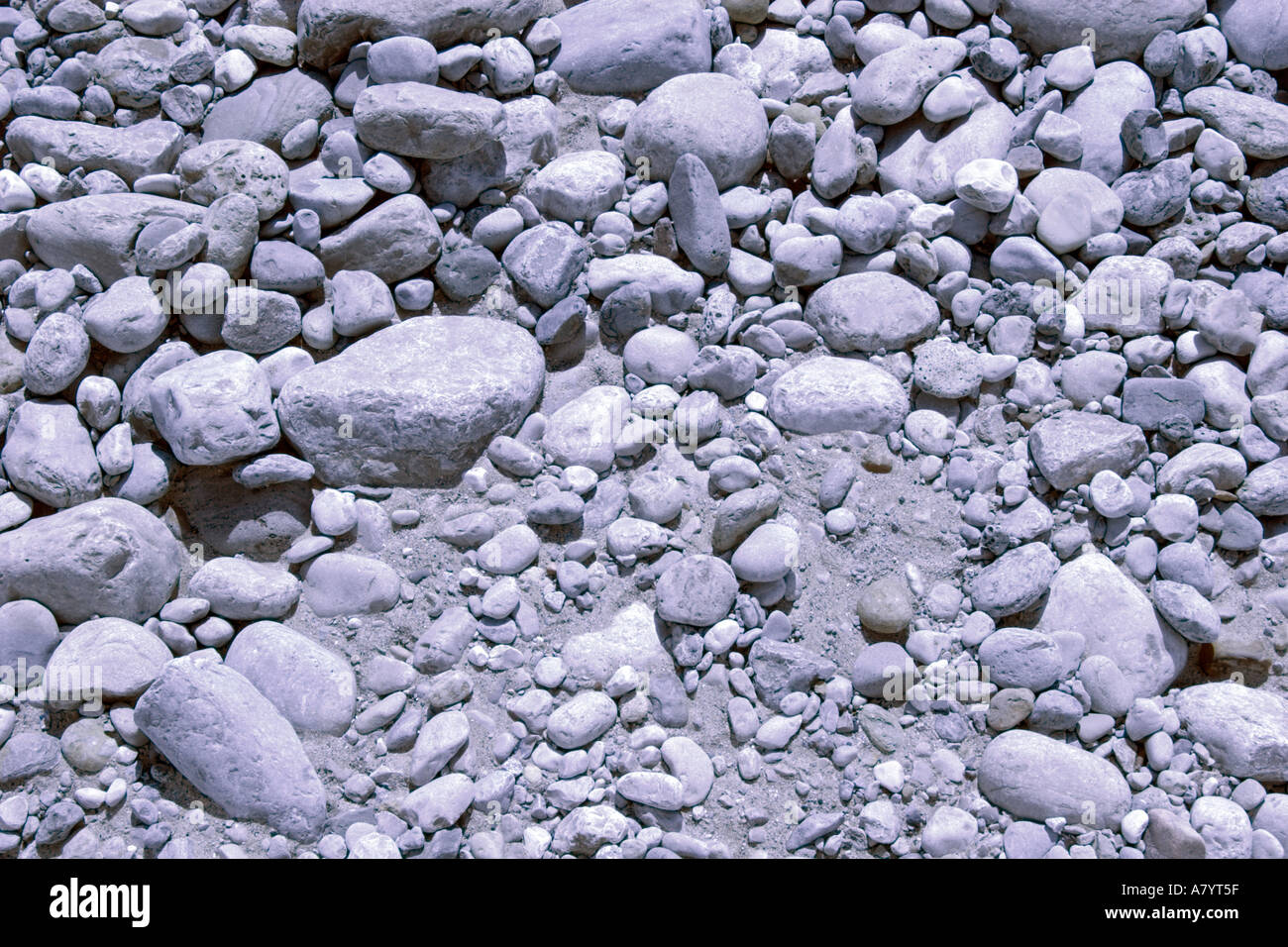 Rocks and pebbles in abstracted colour - Stock Image