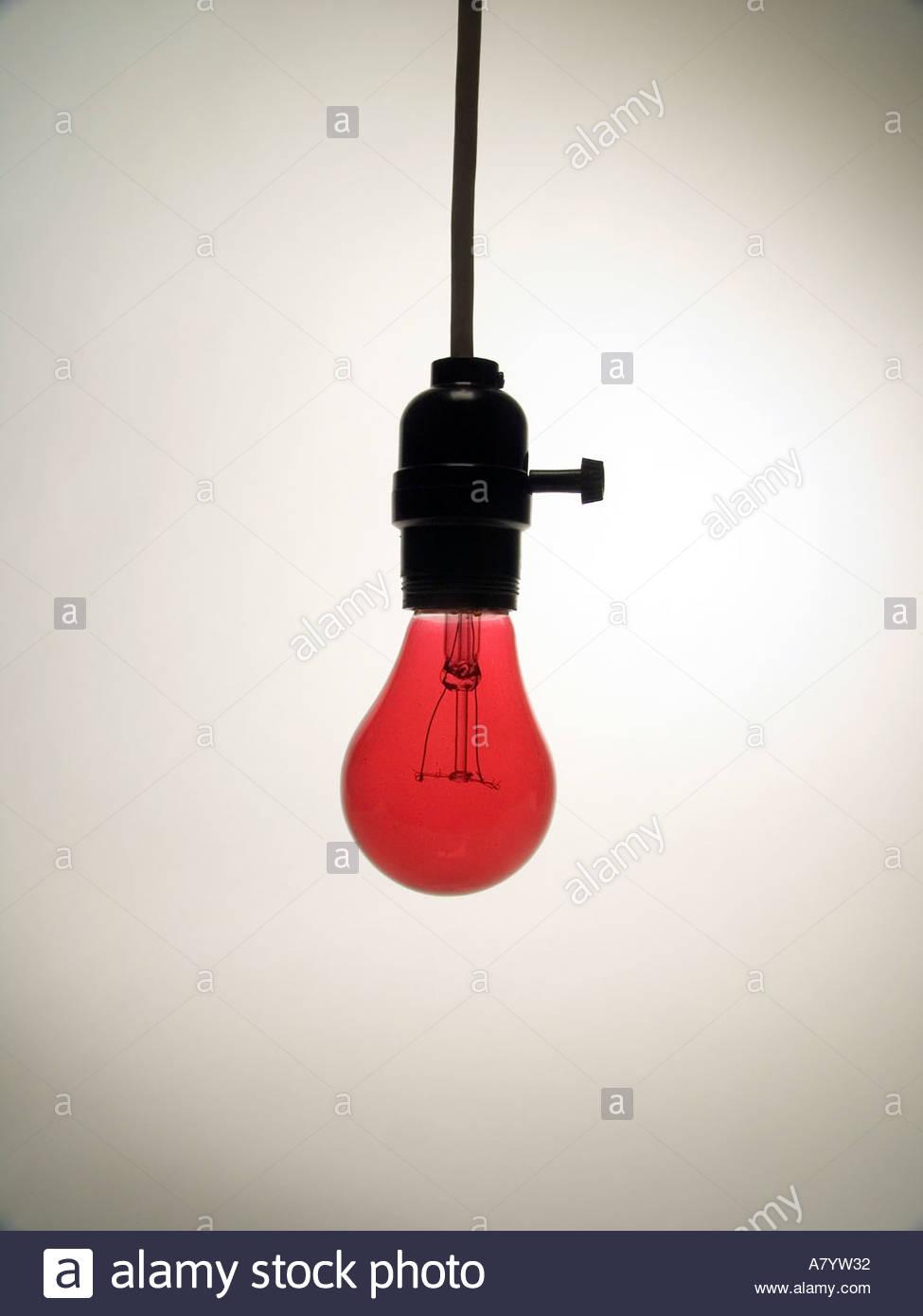 lightbulbs bare. Hanging Bare Red Light Bulb In Socket Lightbulbs