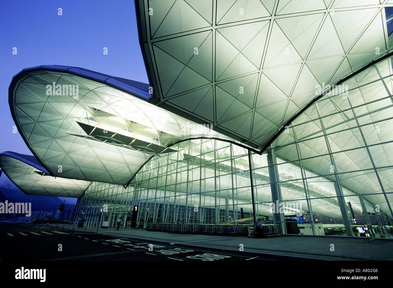 China, Hong Kong, entrance of Chek Lap Kok airport - Stock Image