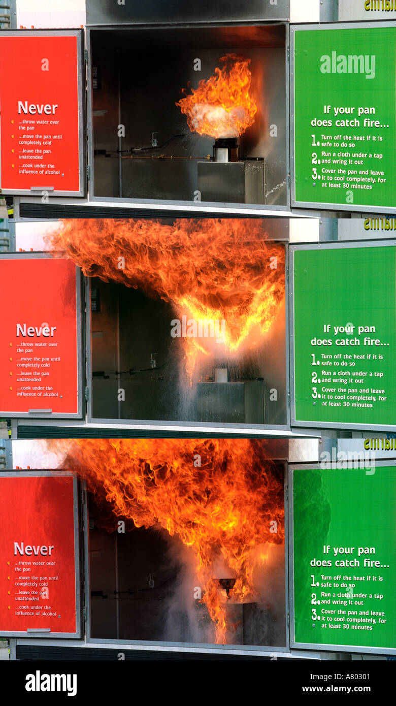 Sequence of three showing a fire safety demonstration of a chip pan fire - Stock Image