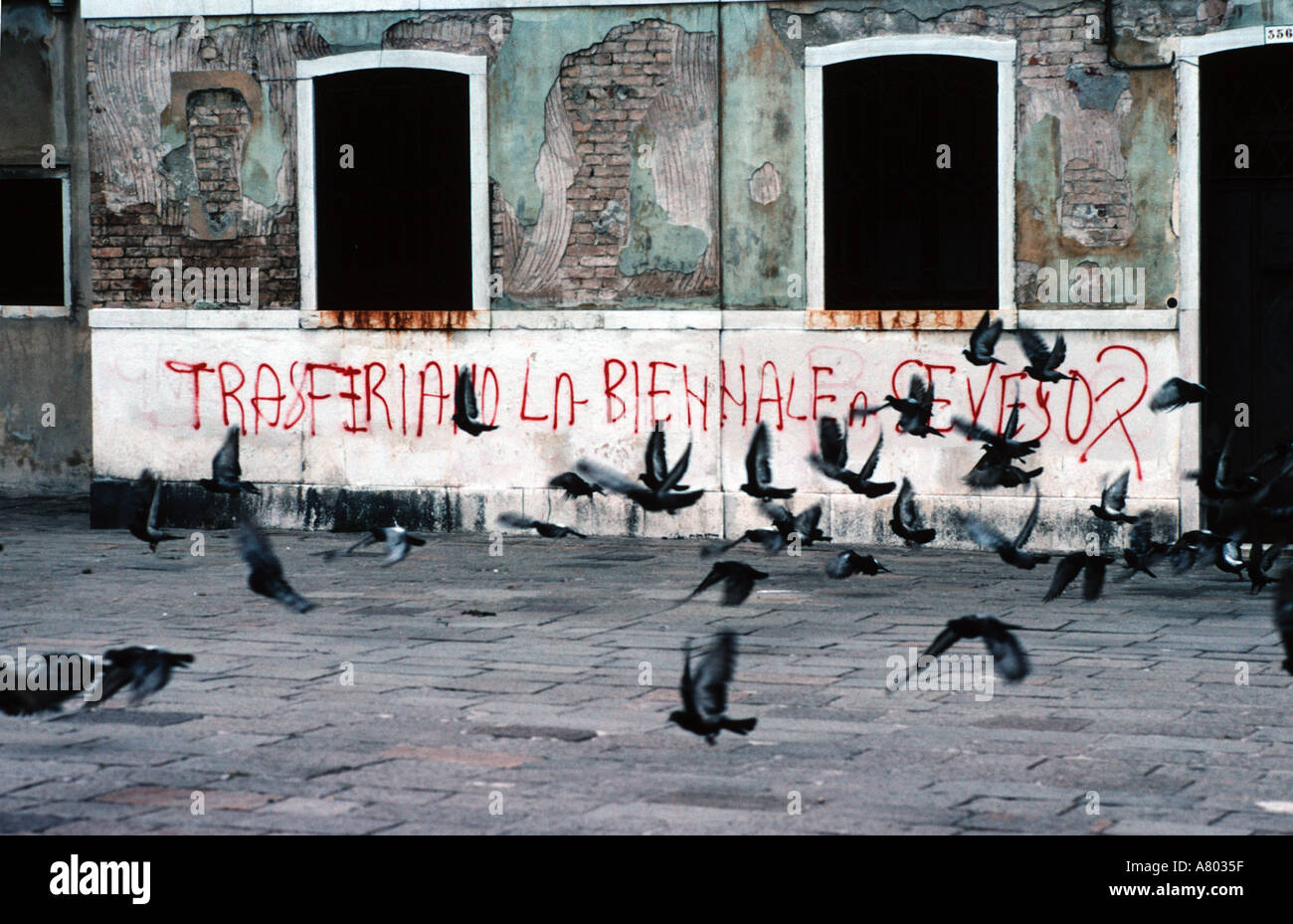 Graffiti in venice at the time of the seveso chemical works disaster in the 1970s