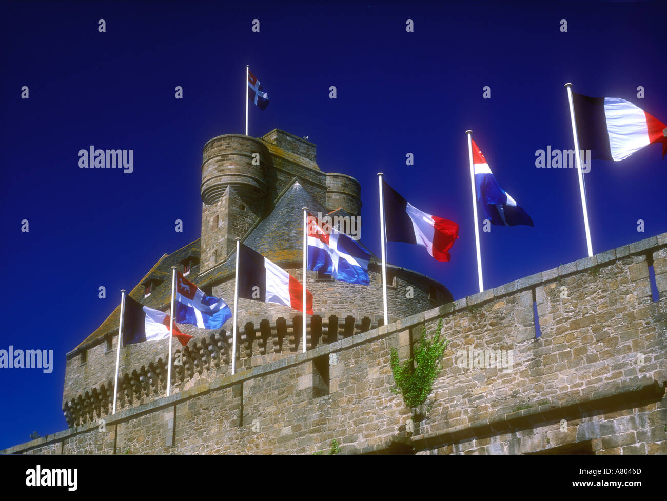 European Union flags on city walls of St Malo Brittany France - Stock Image