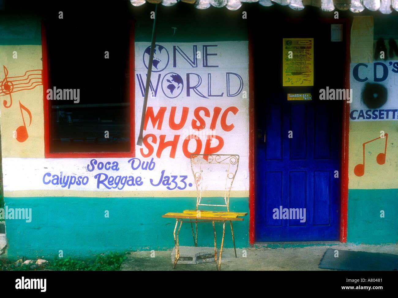 Facade of Reggae Music store at Store Bay Tobago West Indies Caribbean - Stock Image
