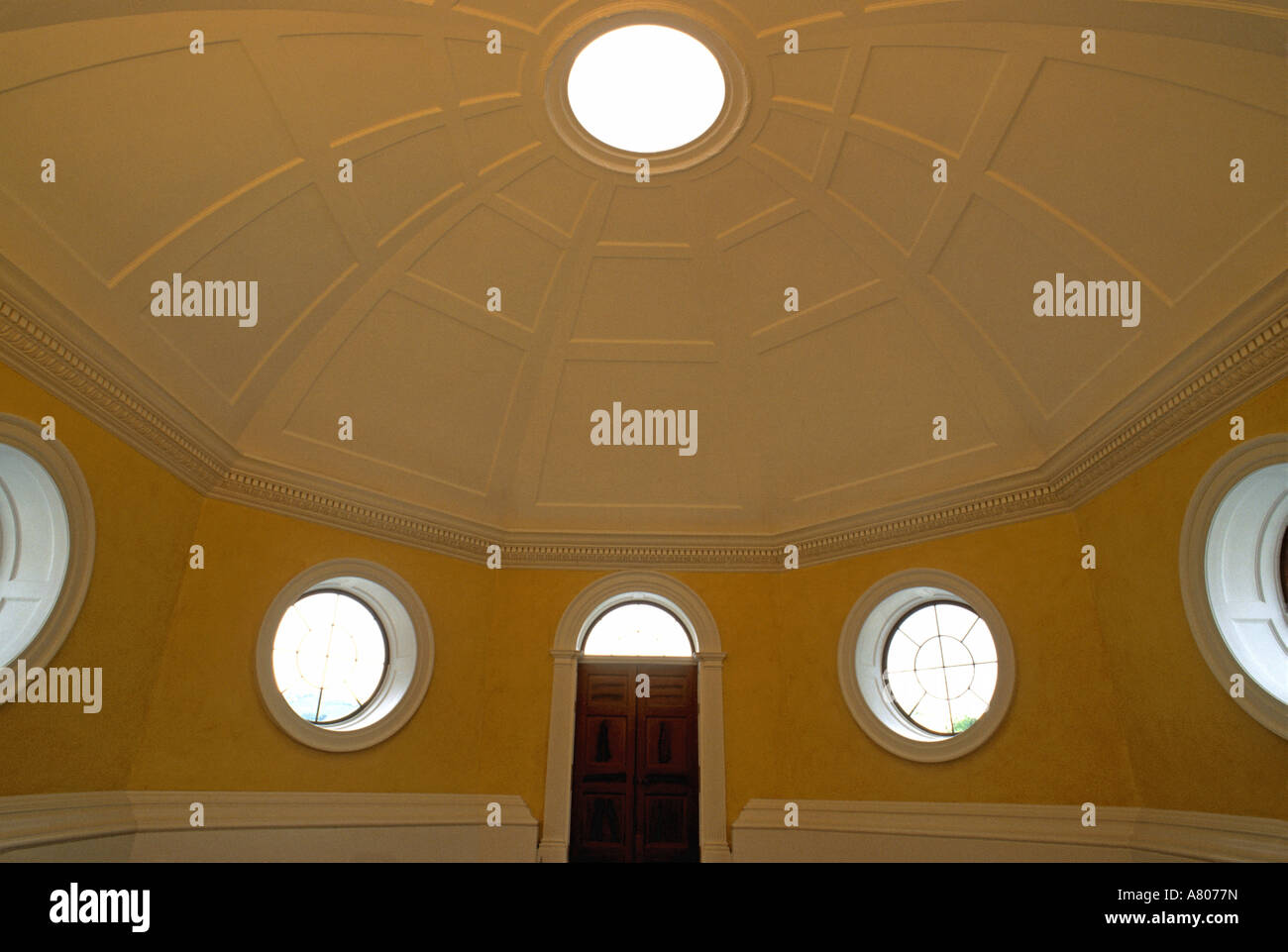 USA, Virginia, Albermarle County, Monticello, interior of the Dome Room. - Stock Image