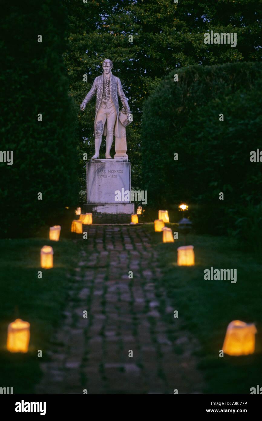 USA, Virginia, Albermarle County, Ashlawn, James Monroe Statue. - Stock Image