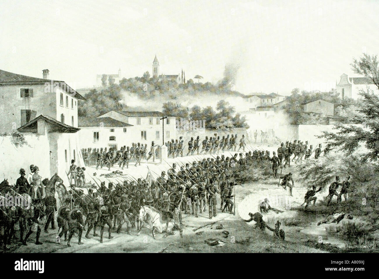 Austro-prussian war. 1866. Antique illustration. 1900 - Stock Image