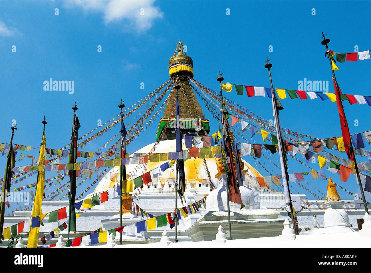 China, Nepal, Katmandu, stupa of Bodhnath (also called Jaroungkhasor) - Stock Image
