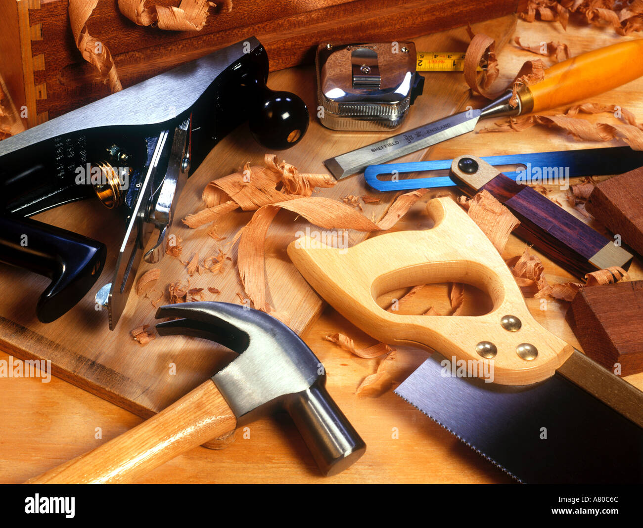 collection of various woodworking tools - Stock Image