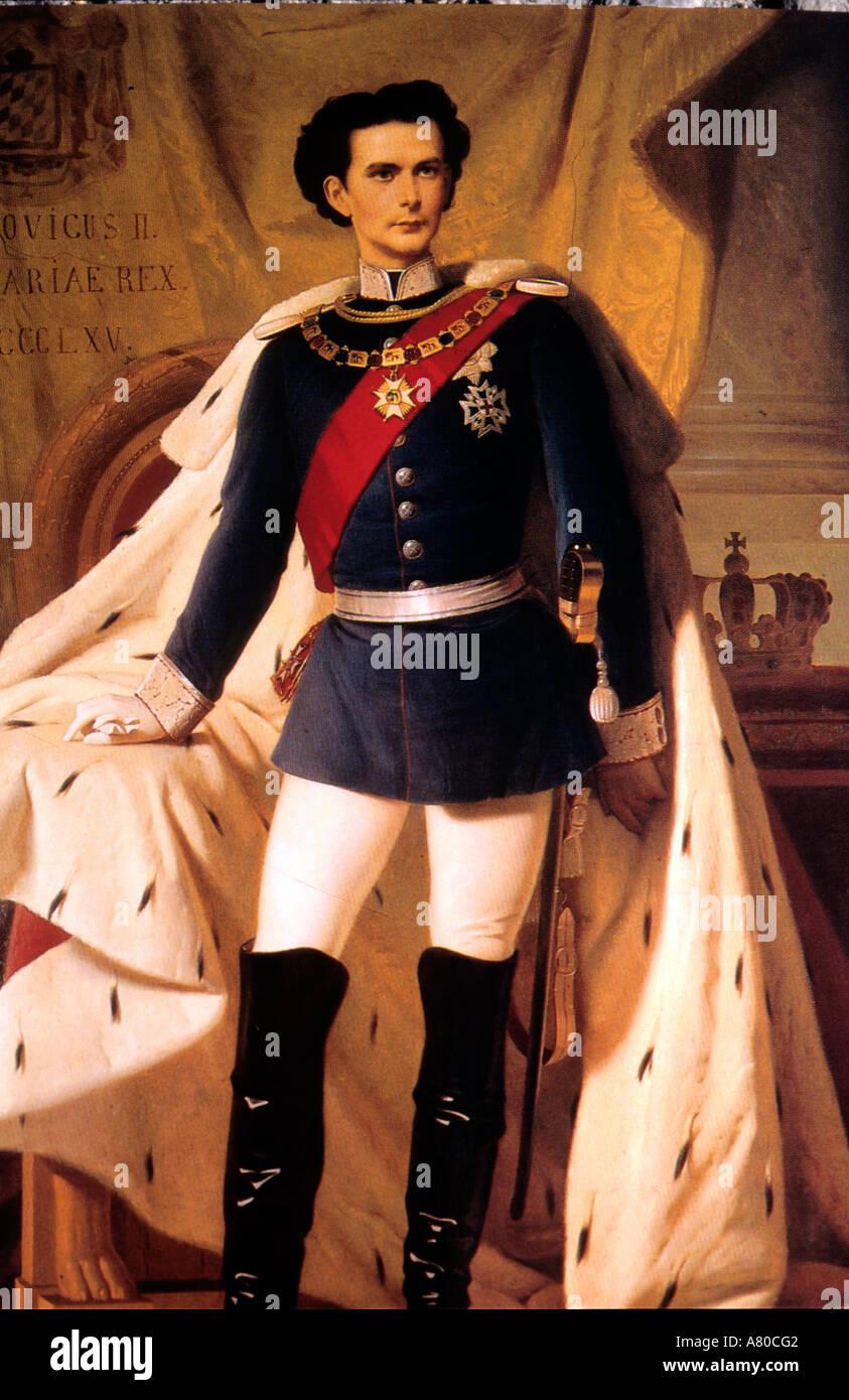 Germany, Bavaria aera, self-portrait of Ludwig II of Bavaria in Neuschwanstein castle - Stock Image