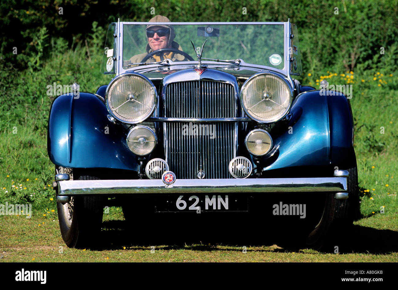 United Kingdom, Isle of Man, an old convertible car - Stock Image