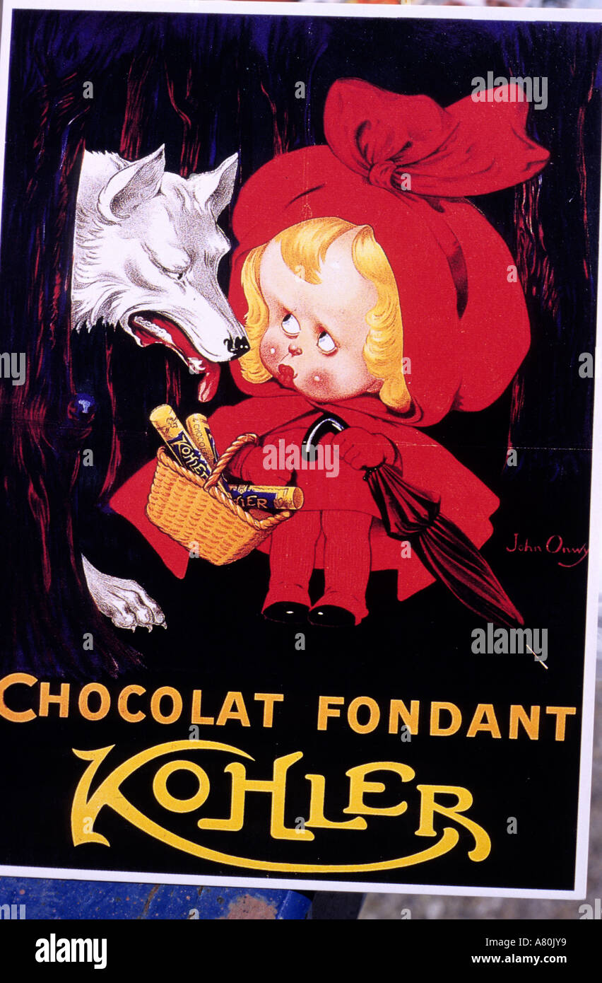 Switzerland, an old publicity for the swiss chocolate - Stock Image