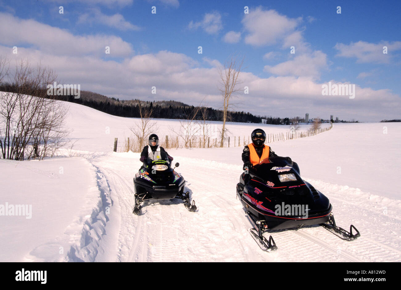 Canada, Quebec Province, carnival time, snowmobile ride - Stock Image