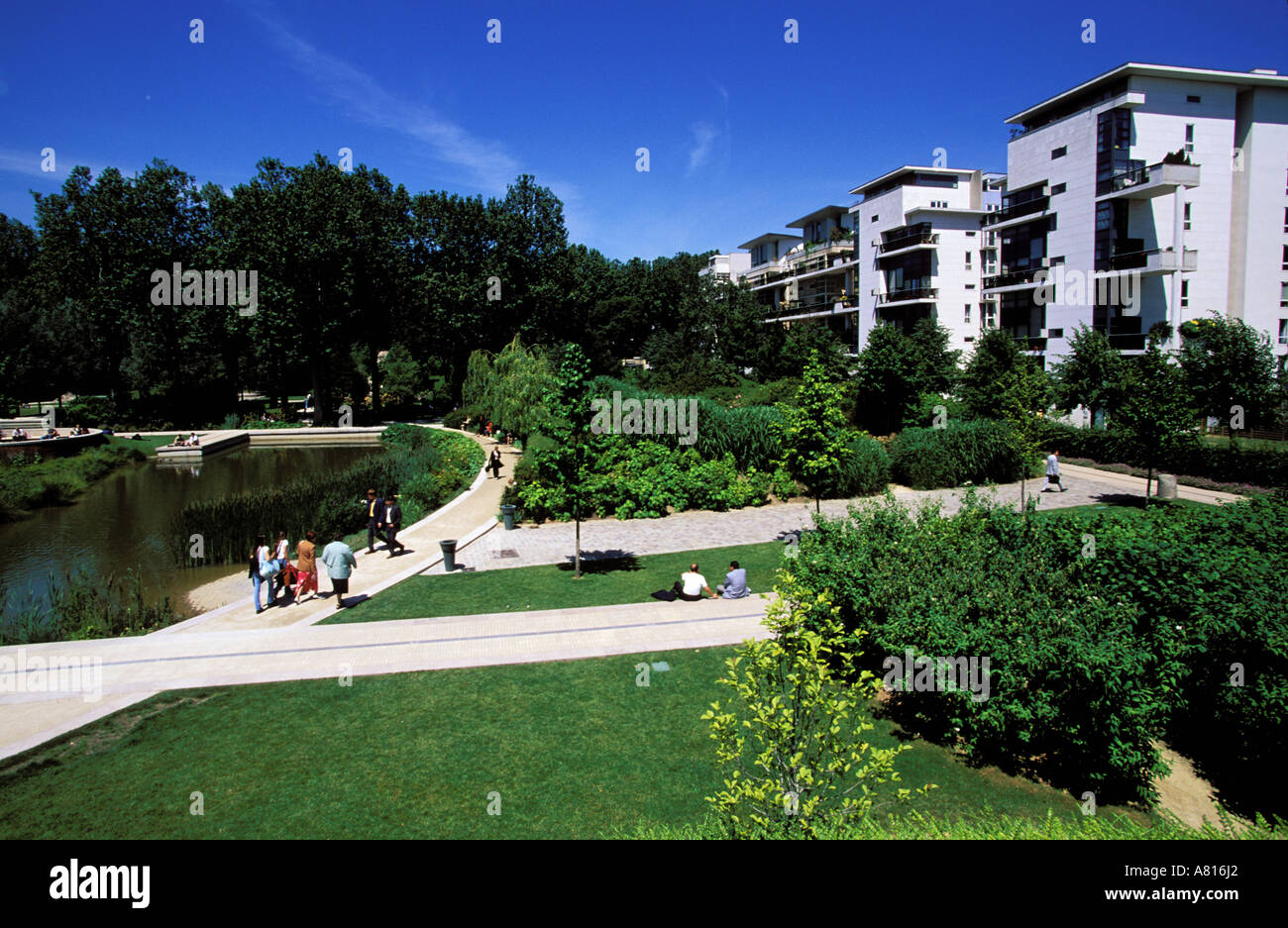 France, Paris, new districts, Bercy, Bercy park - Stock Image