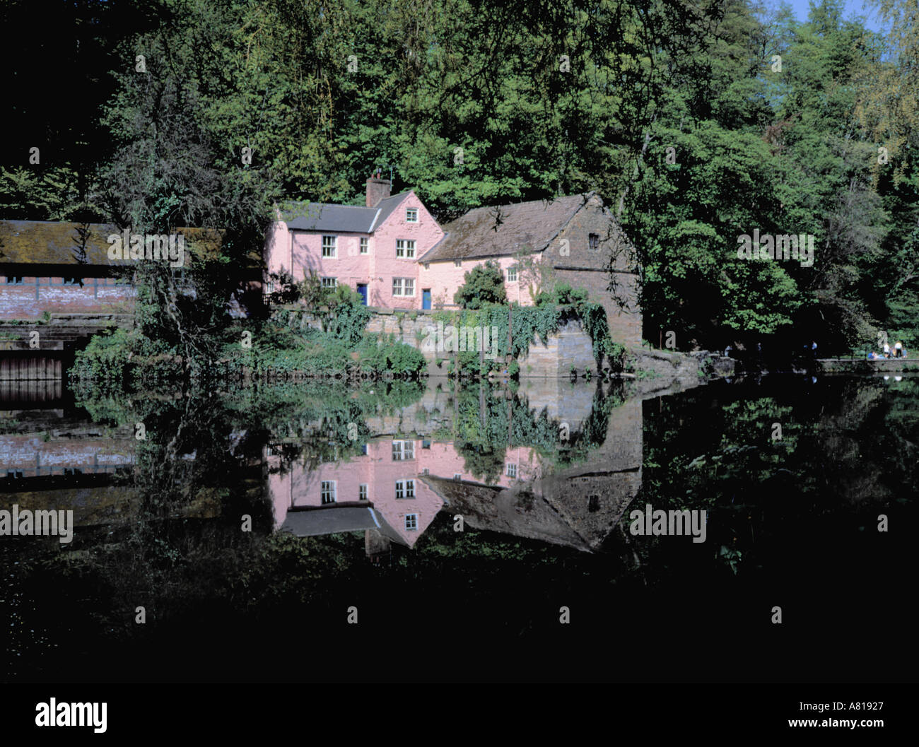 Picturesque Old Corn Mill Seen Over Still Water Of River Wear