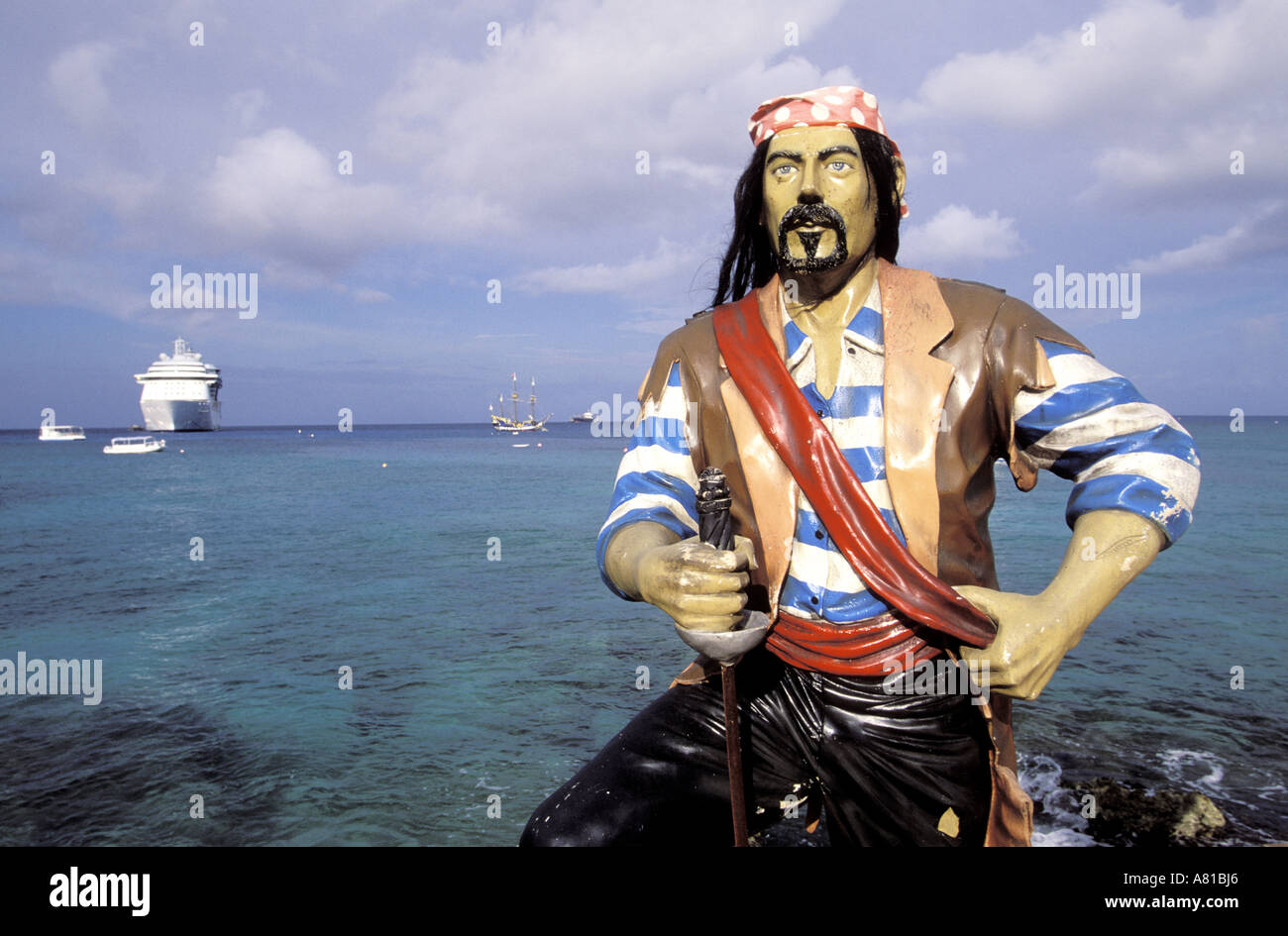 Cayman Islands, Grand Cayman Brac, Pirates Week Festival, a pirate statue in Hog Sty Bay - Stock Image