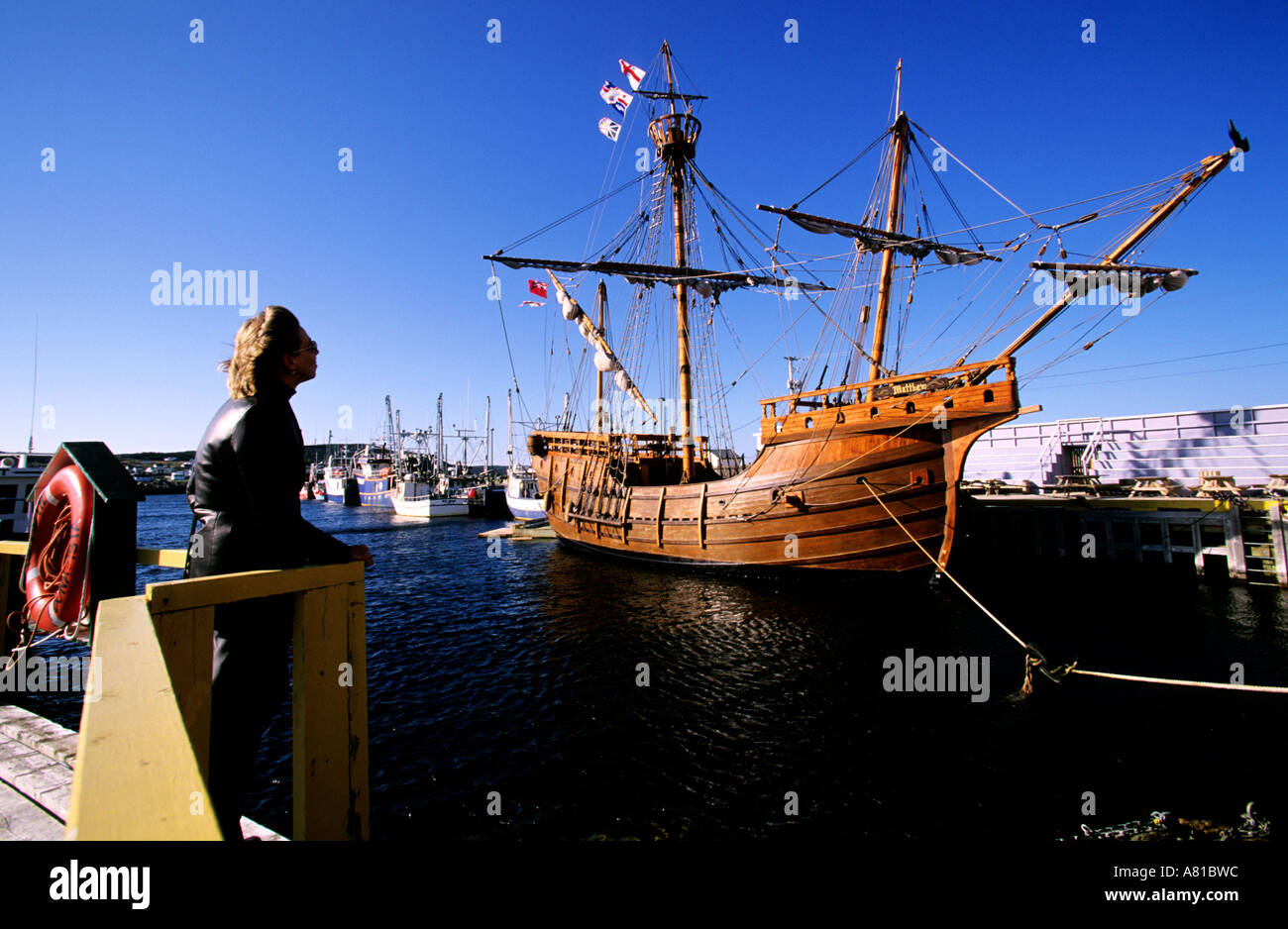 Canada, Newfoundland, Bonavista's harbour with its full-scale replica of the Matthew, John Cabot's famous caravel - Stock Image