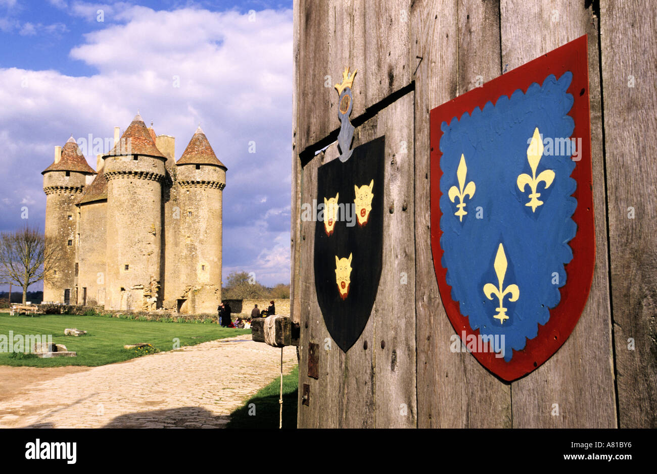 France, Indre, Berry of George Sand, Sarzay, feudal castle (XIVth century) - Stock Image