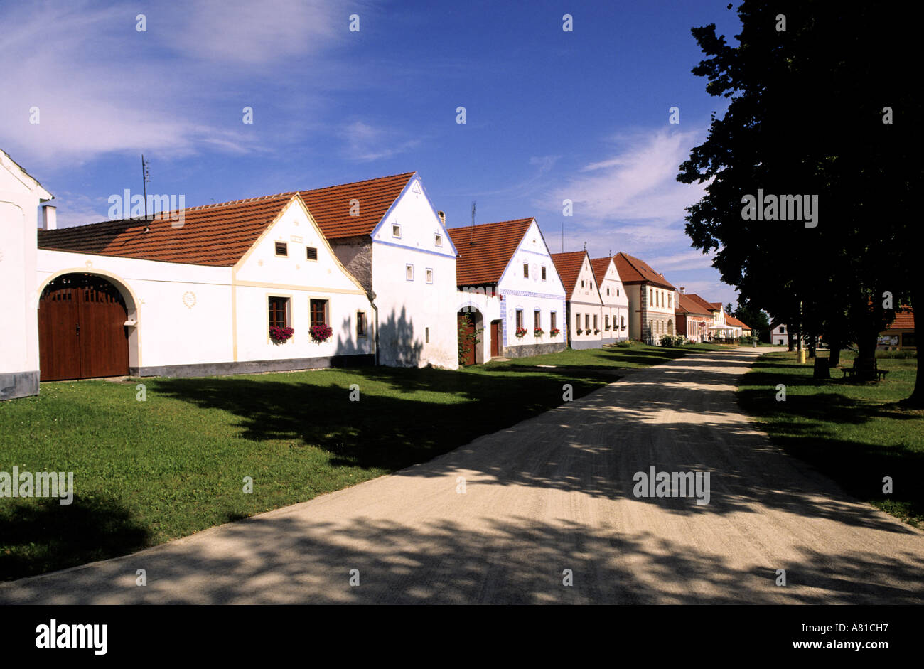 Czech Republic, Bohemia, Holasovice historical village, classified as a World Heritage by the UNESCO - Stock Image