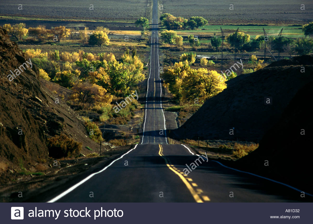 country road highway route straight line landscape travel transport connection distance communication landscape Emery Utah USA - Stock Image