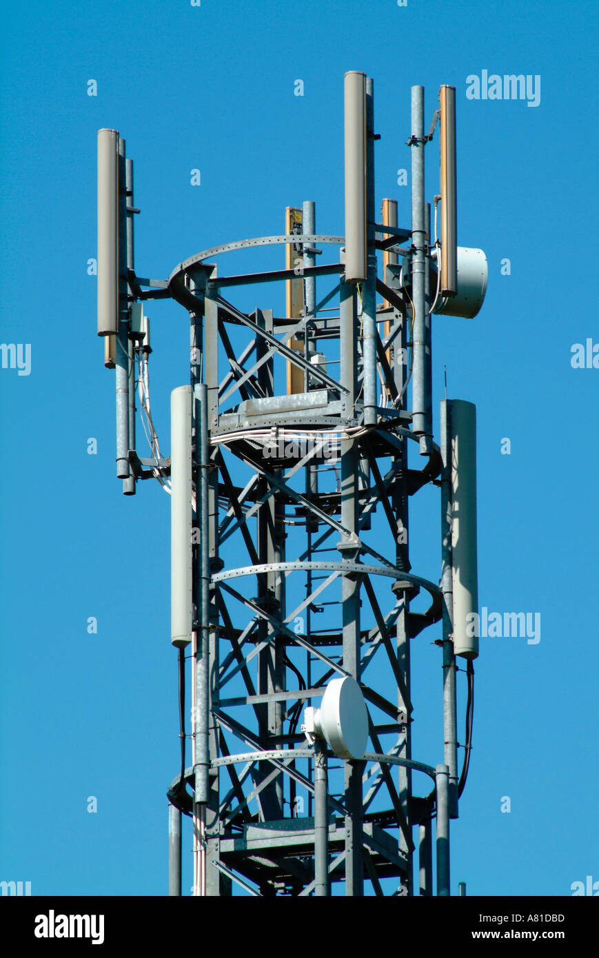 The top of a mobile phone transmitter mast Stock Photo