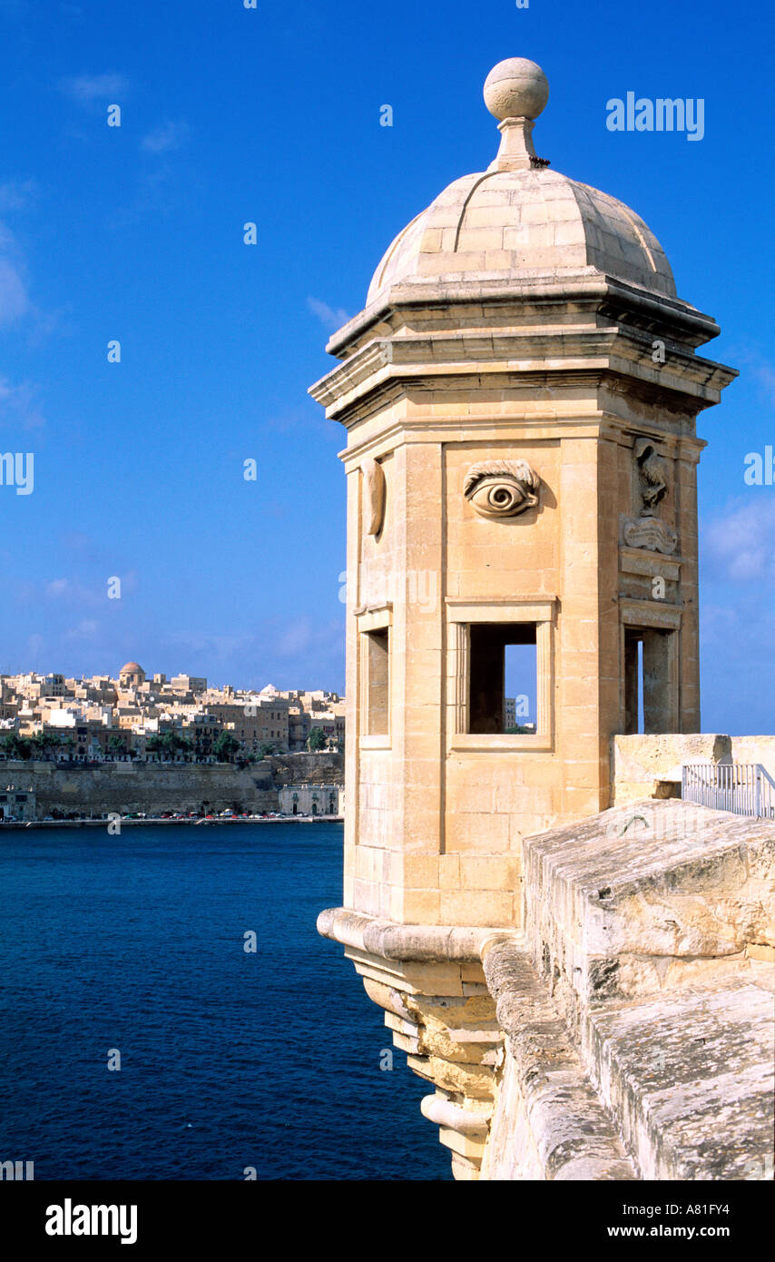 Malta, the Three Cities, the watch tower of Senglea, in the background Valletta - Stock Image