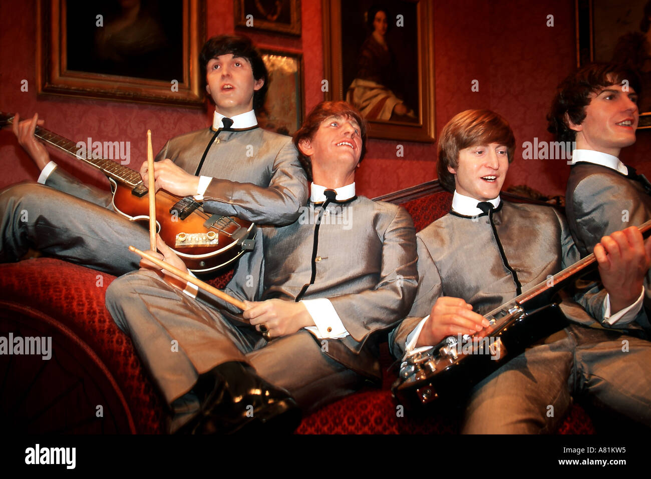 United Kingdom, London, Marylebone, Madame Tussaud museum, Beatles - Stock Image