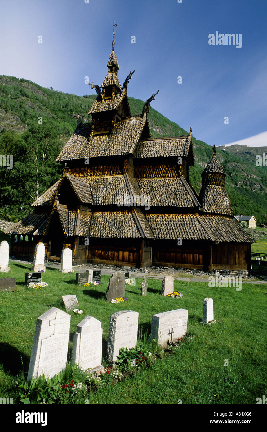 Norway, Laerdal region, the most preserved  wooden church of the country - Stock Image
