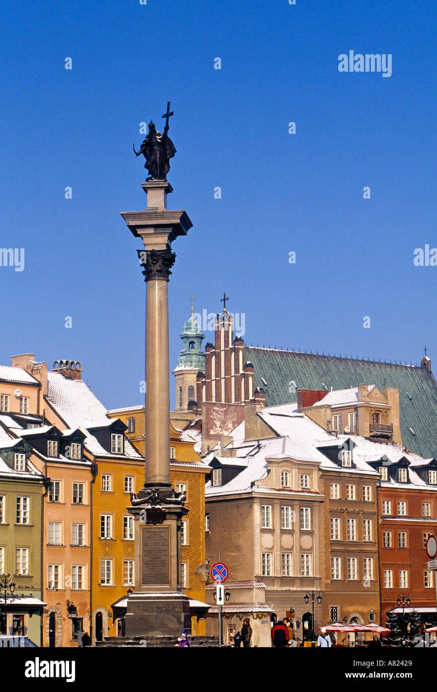 Castle Square (Zamkowy pl), Warsaw, Poland - Stock Image