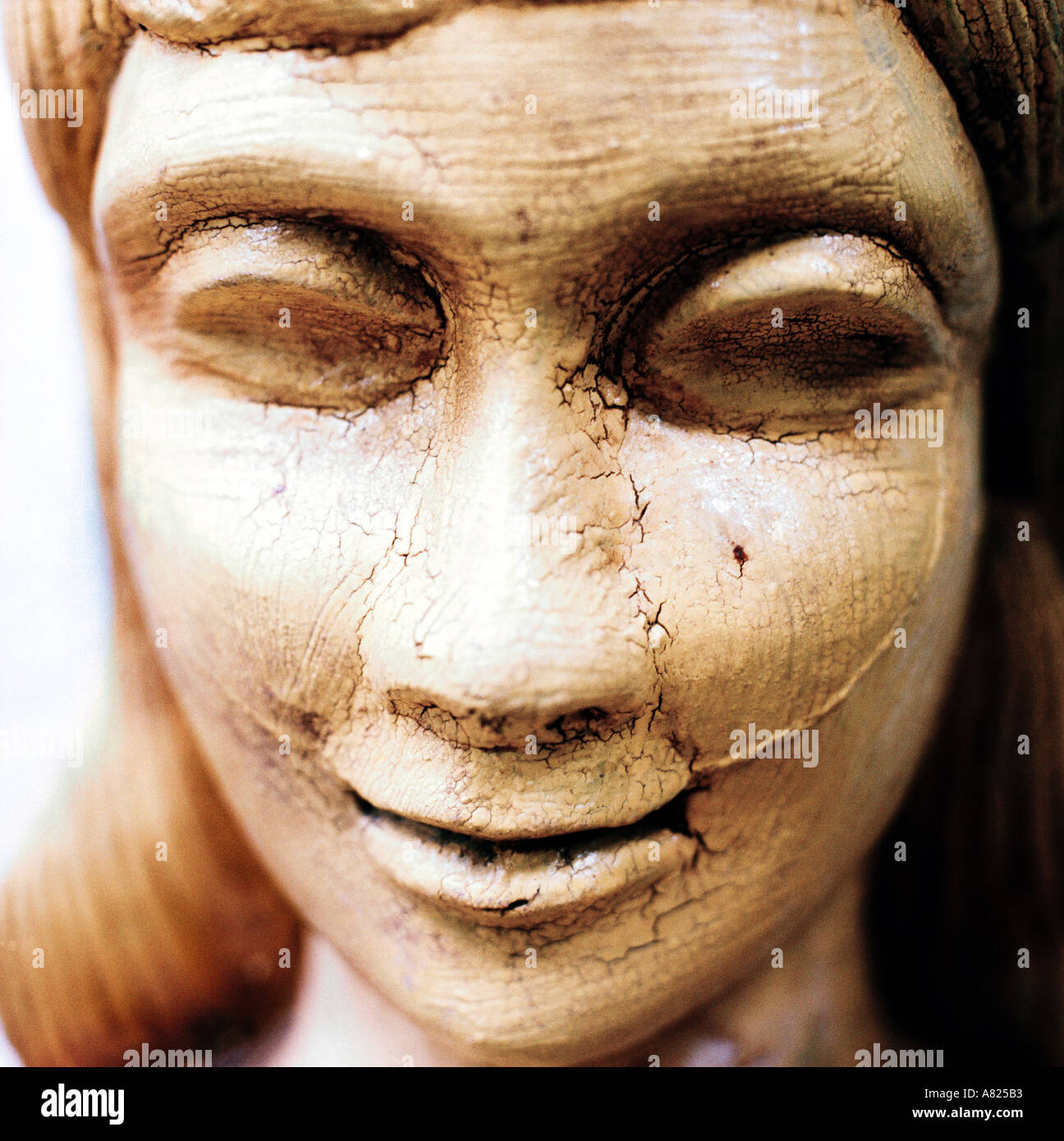 carved womans face - Stock Image