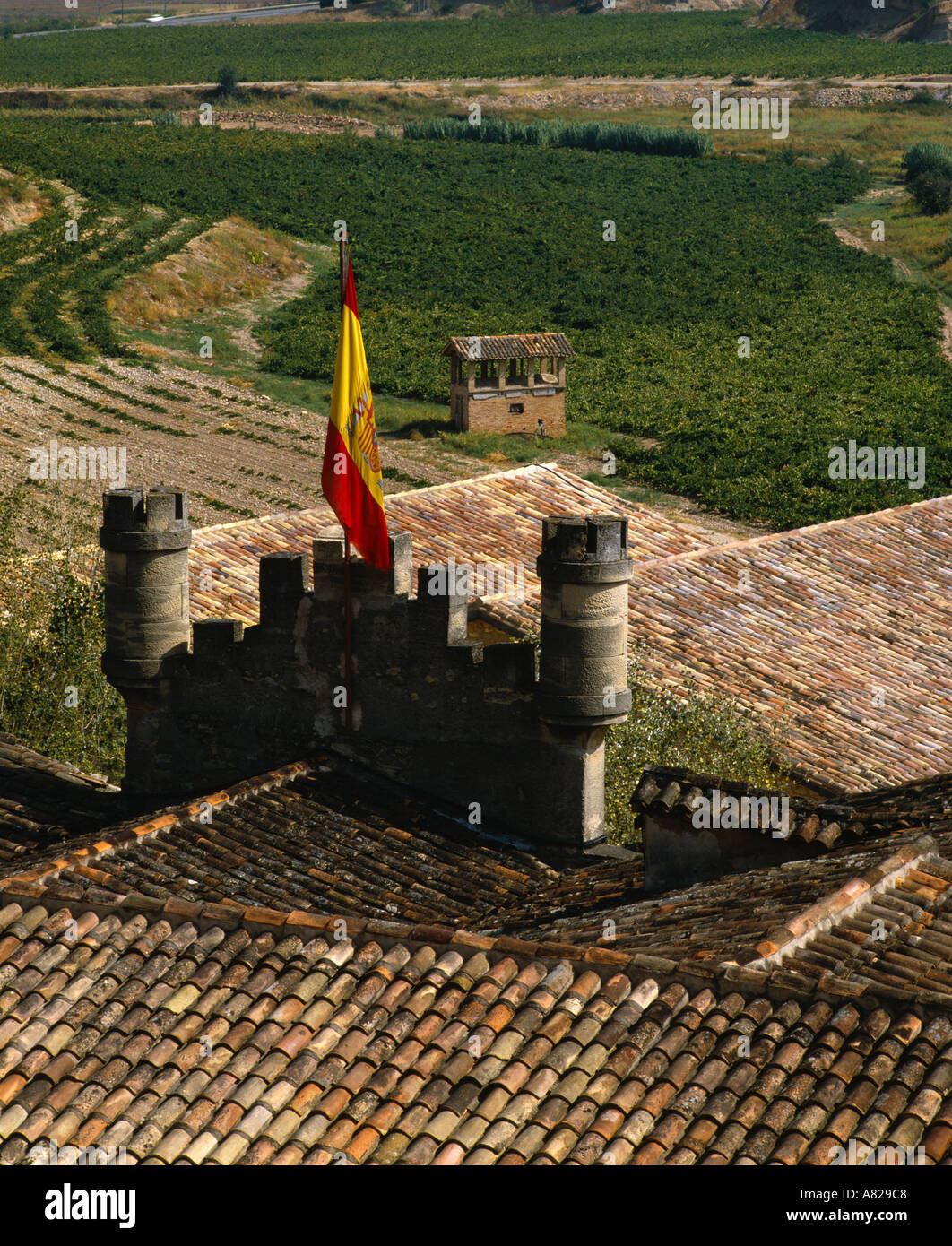 View Over Roofs Of Bodegas Marques De Murrieta Ygay Near Logrono La