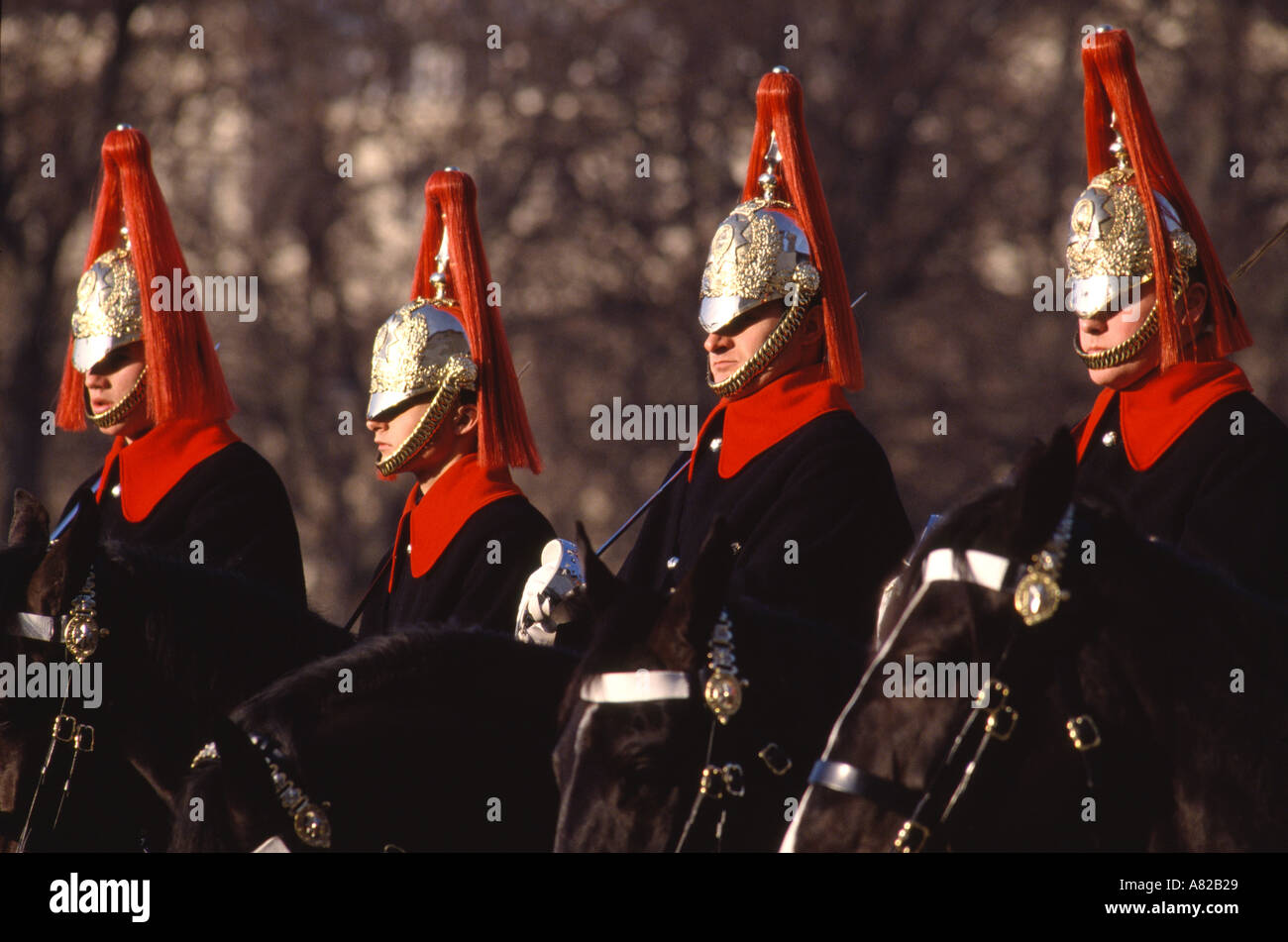 Changing of the Guard ceremony Performed daily on Horse Guards Parade London England Stock Photo