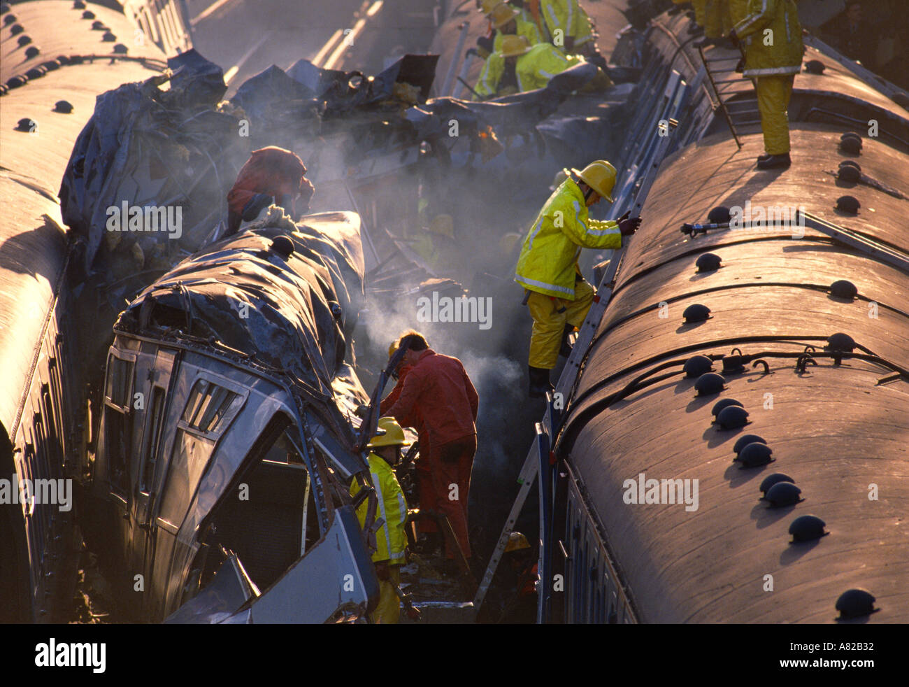 Clapham Train Crash 37 people were killed and 500 injured when three trains crashed in Clapham London on Dec 12th 1988 - Stock Image