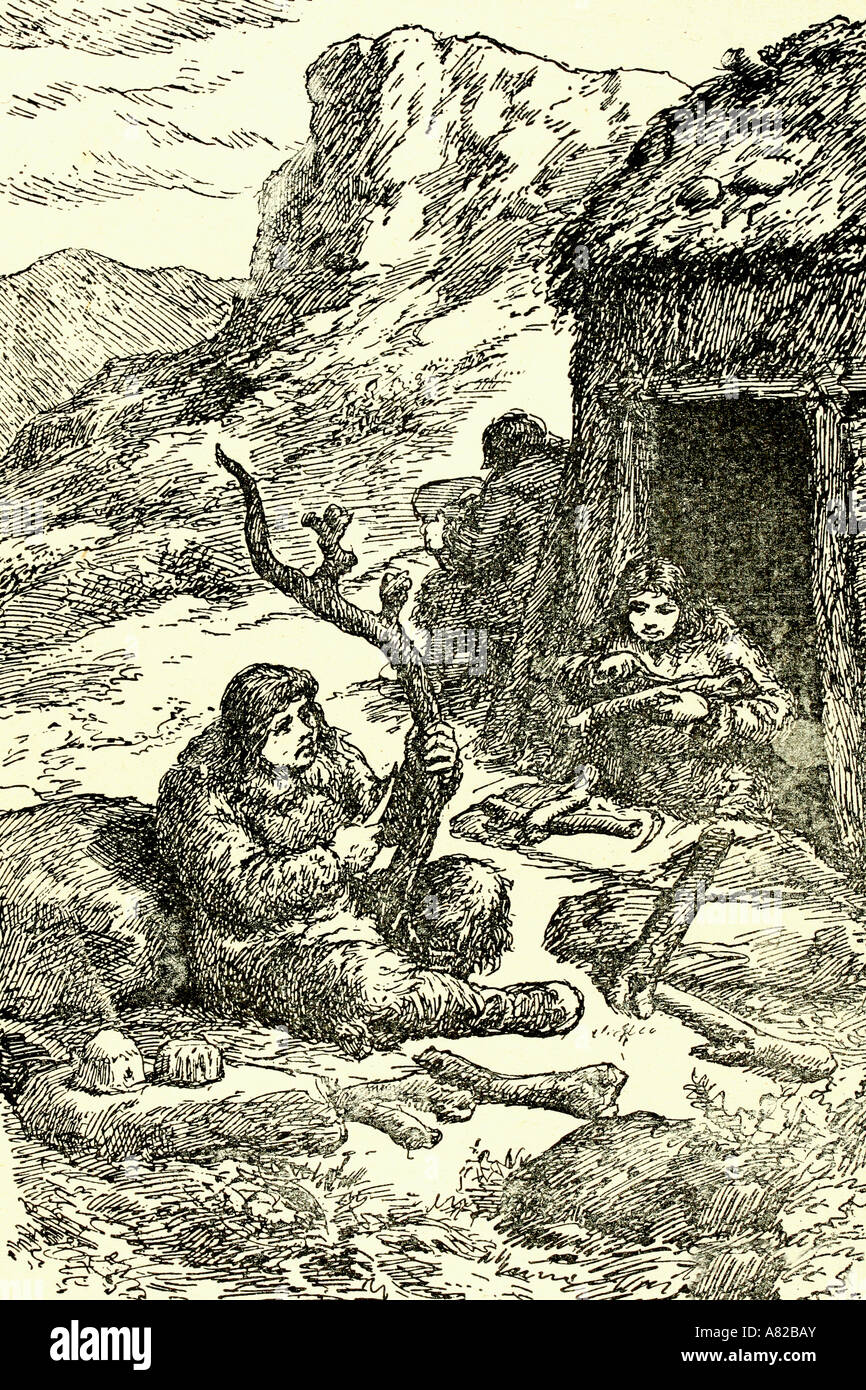 Prehistory life. Sculpture. Antique illustration. 1924 - Stock Image