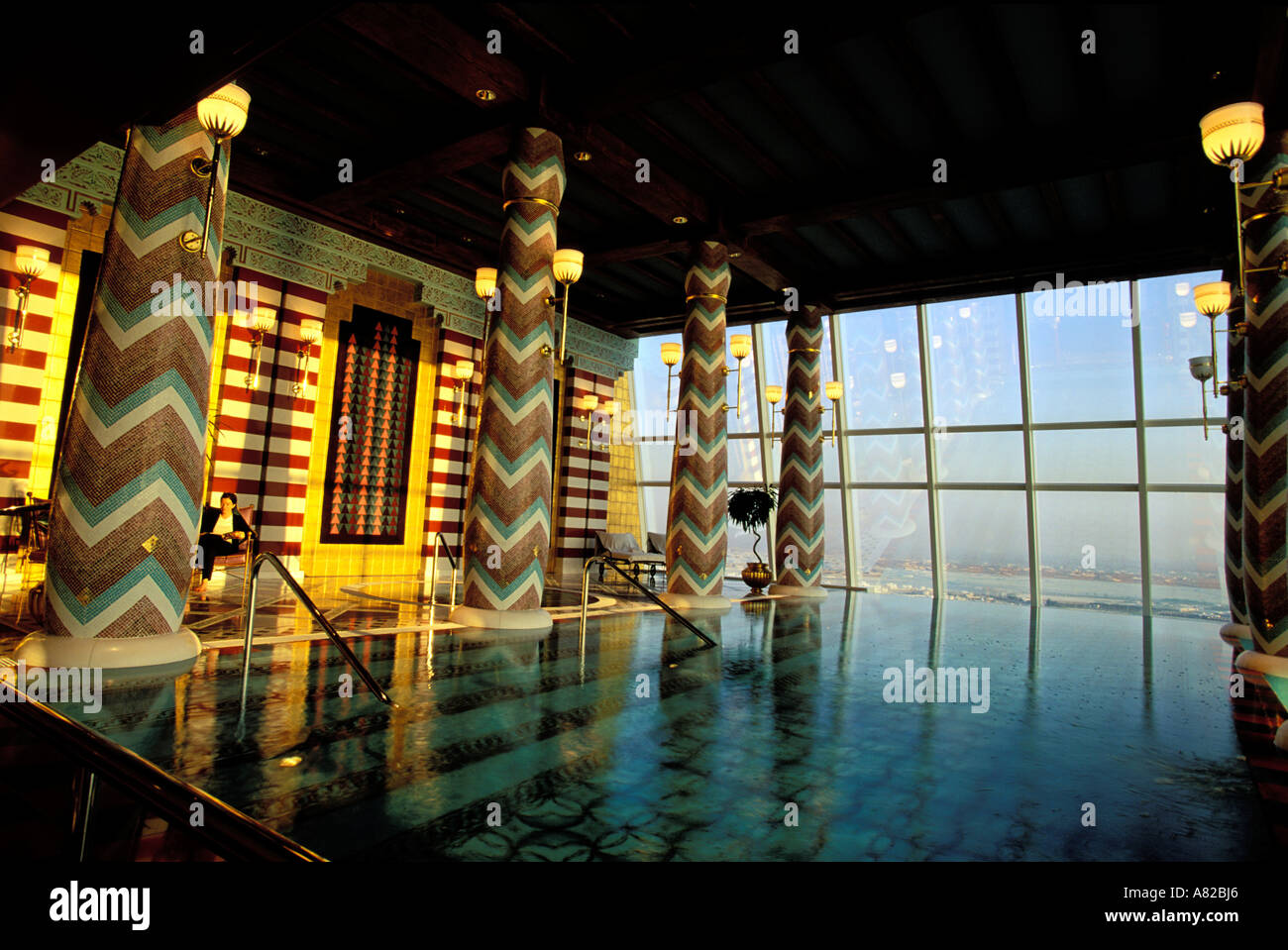 Dubai, United Arab Emirates, swimming pool of the spa (18th floor) of Buj Al Arab hotel Stock Photo