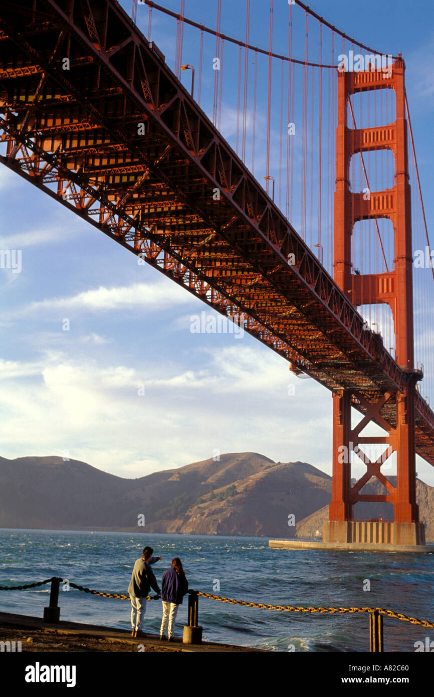 California, San Francisco, Golden Gate Bridge from Fort Point - Stock Image