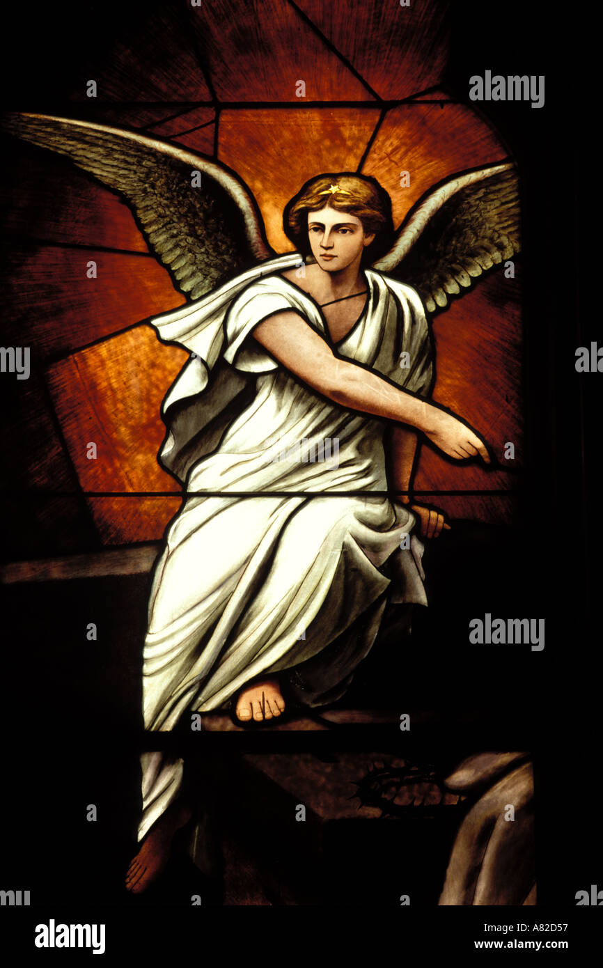 Religious Art, Angel, Stained Glass - Stock Image