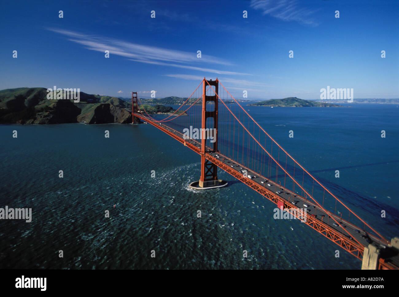 California, San Francisco Bay, Aerial view of Golden Gate Bridge Stock Photo