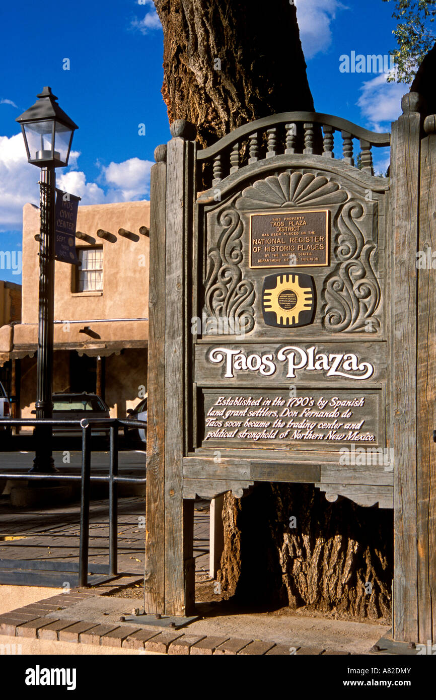 Taos plaza stock photos taos plaza stock images alamy taos plaza sign and national register of historic places plaque taos new mexico stock image publicscrutiny Images