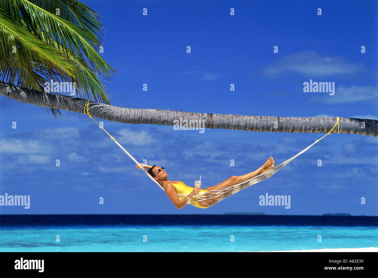Woman relaxing in hammock under palm tree and blue skies with tropical drink - Stock Image